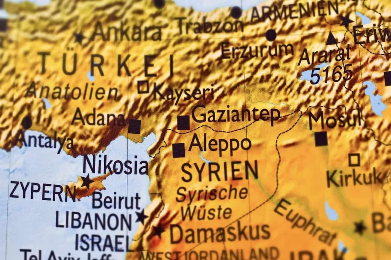 Landkarte Region Syrien