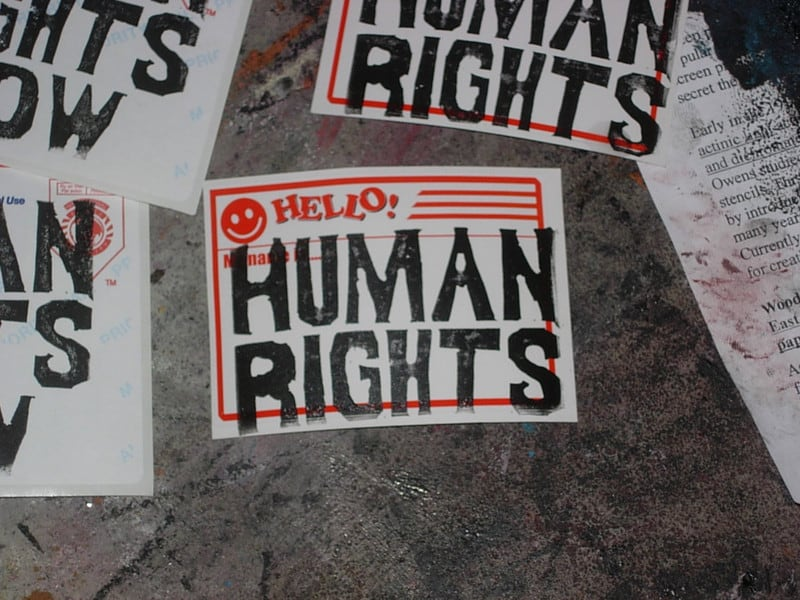 Human Rights Sticker on a wall