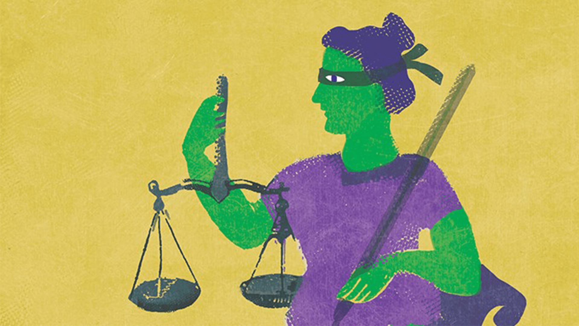 Eine grün-lila Grafik von Justizia mit ihrer Waage