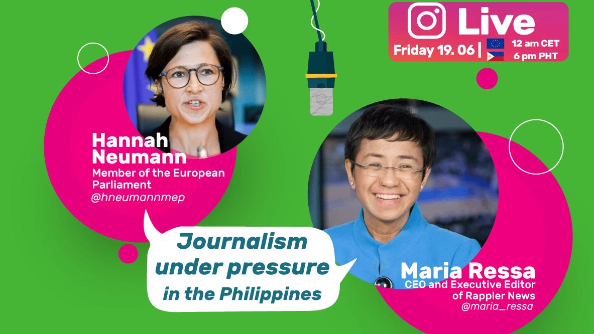 Bild mit zwei Frauen und einer Sprechblase mit Journalism under pressure in the Philippines
