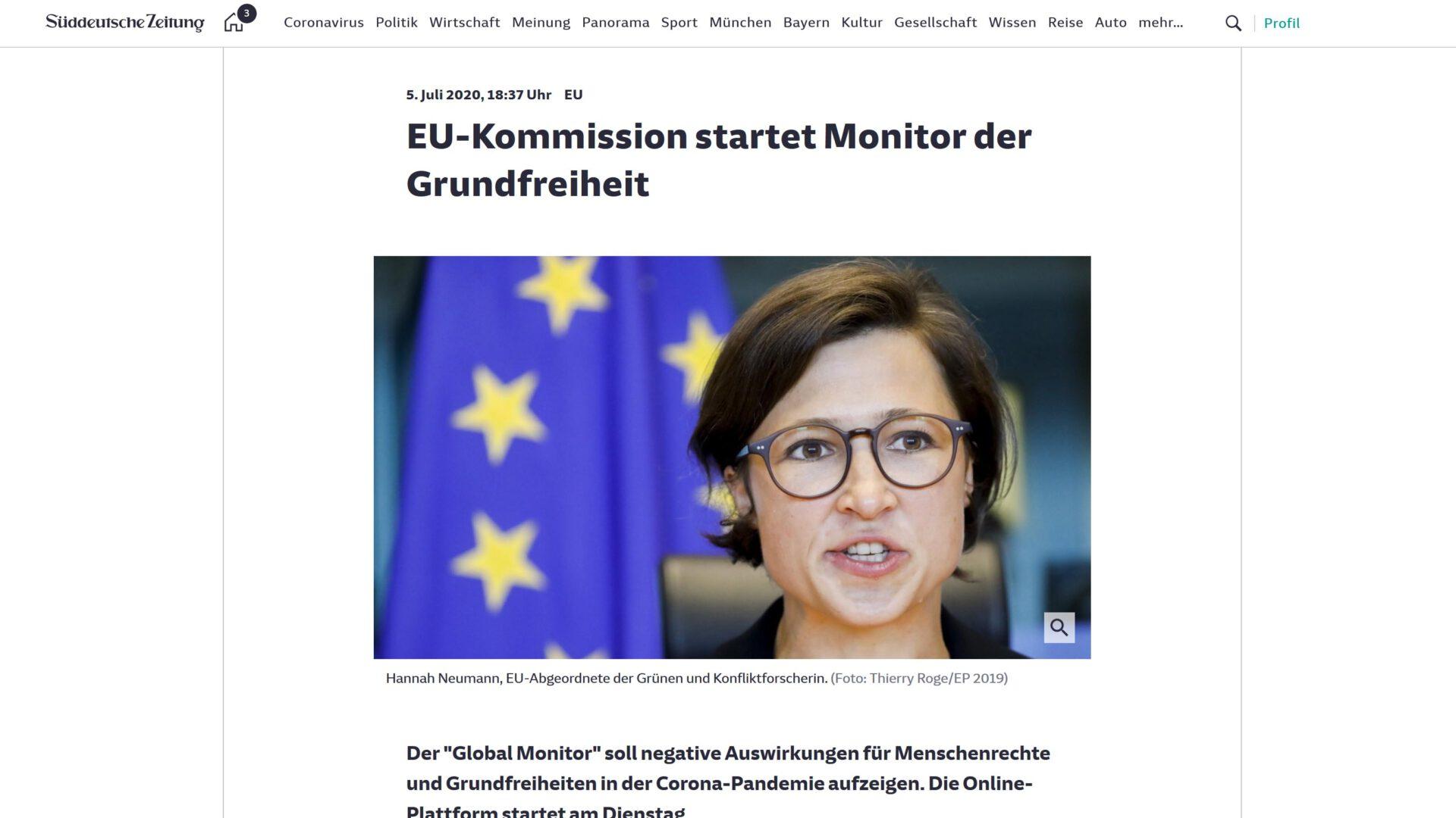Monitor für Menschenrechte in Coronazeiten - Bericht der Süddeutschen Zeitung