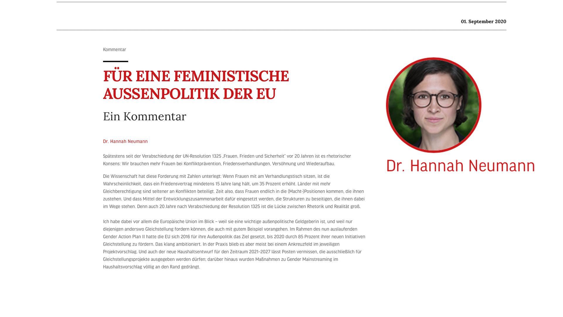 Für eine feministische Außenpolitik der EU - Mein Kommentar in der IP