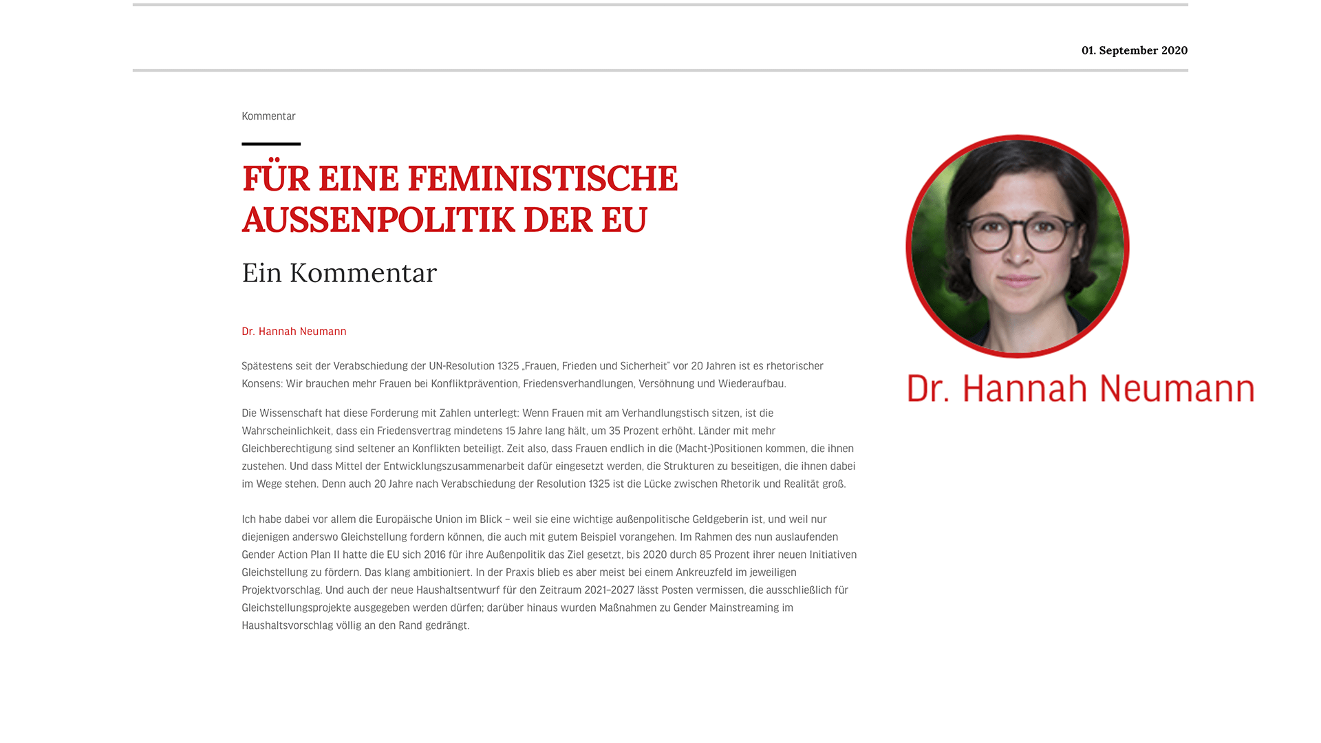 For a feminist foreign policy of the EU - My comment in the IP
