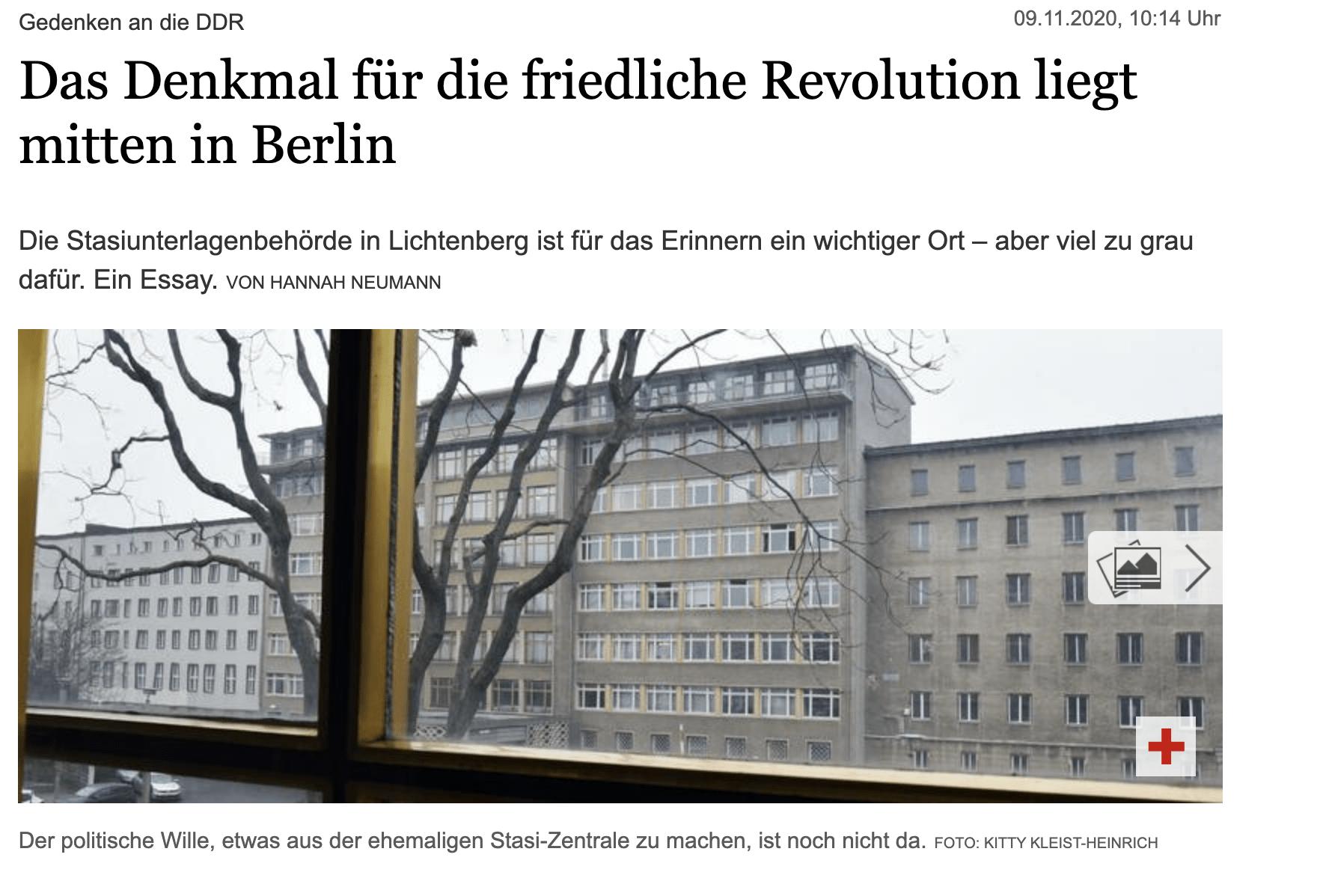 Das Denkmal für die friedliche Revolution liegt mitten in Berlin! Mein Gastbeitrag für den Tagesspiegel