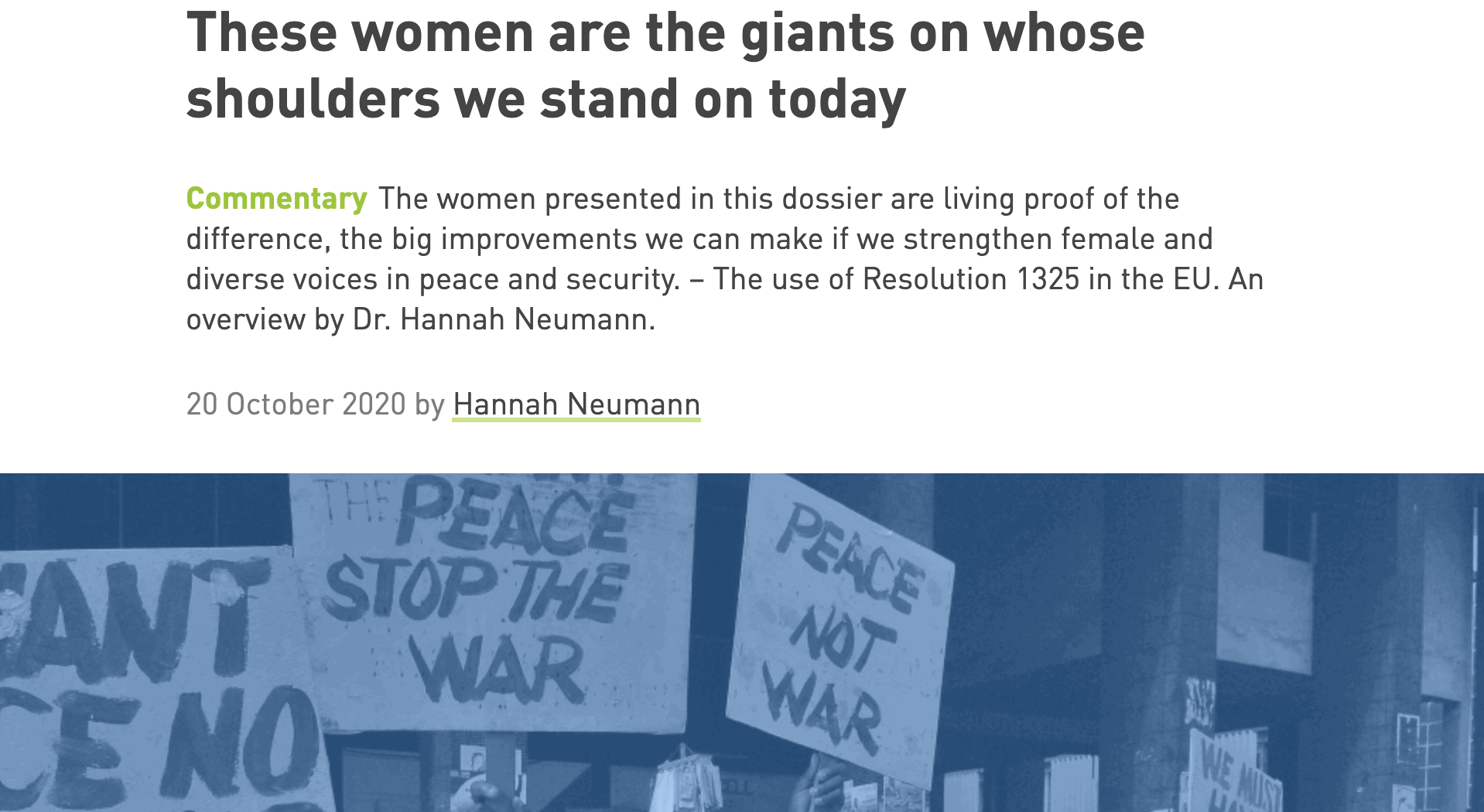 "These women are the giants on whose shoulders we stand on today – My opinion piece for the Böll Foundation's dossier ""No Women – No Peace"""
